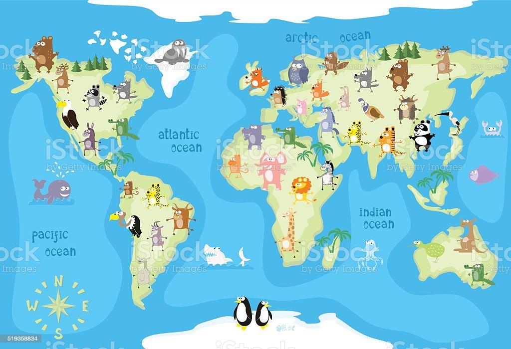 Konzeptdesign weltkarte mit tieren aus allen kontinenten for Weltkarte mit fotos