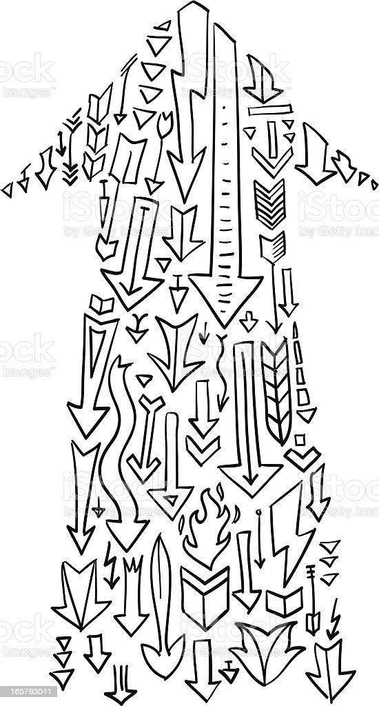 Concept doodle arrow vector art illustration