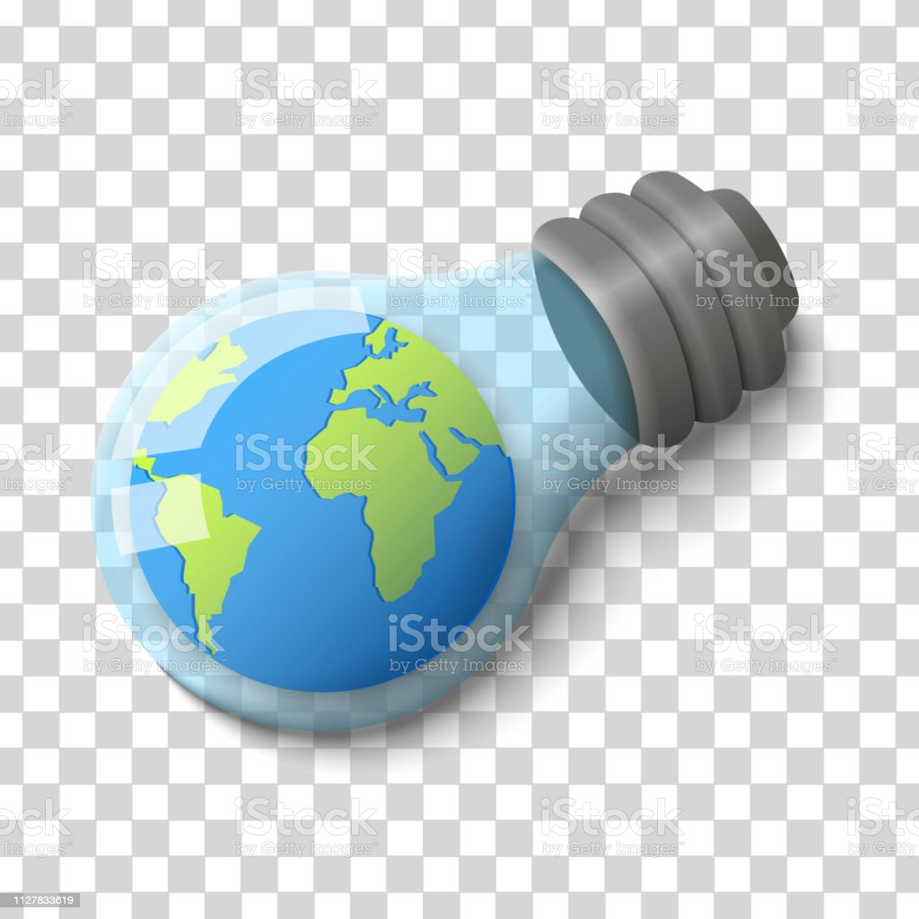 Concept earth hour save energy. Planet earth in a light bulb...