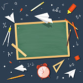 Set school supplies with space for writing. Vector illustration.
