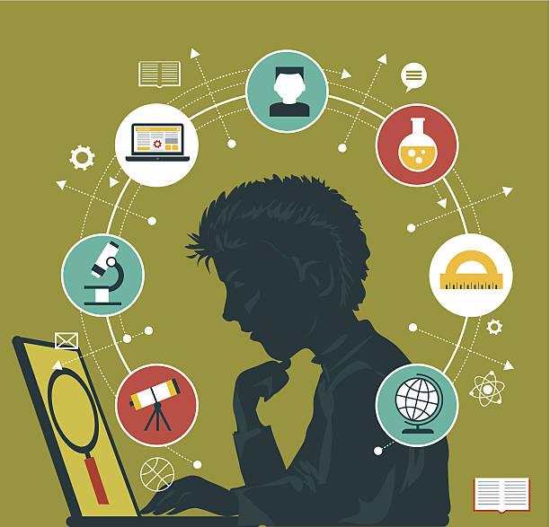 bildung infografiken konzept - computergrundlagen stock-grafiken, -clipart, -cartoons und -symbole