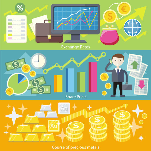 Concept Exchange Rates Flat Design Style Concept exchange rates flat design style. Finance business, currency and investment, money banking, dollar coin, economy and bank, stock financial, trade market, gold and silver illustration budget patterns stock illustrations