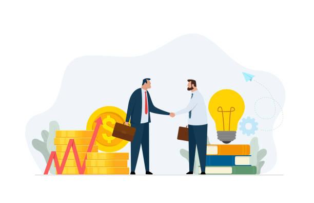 創造的なプロジェクトとイノベーションへの概念金融投資。2人のビジネスマンの握手。 - 投資家点のイラスト素材/クリップアート素材/マンガ素材/アイコン素材
