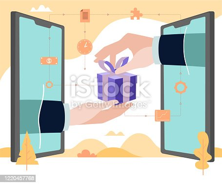 istock Concept Flat illustration. Hand outside of smartphone delivery gift. Application for online shop. 1220457768