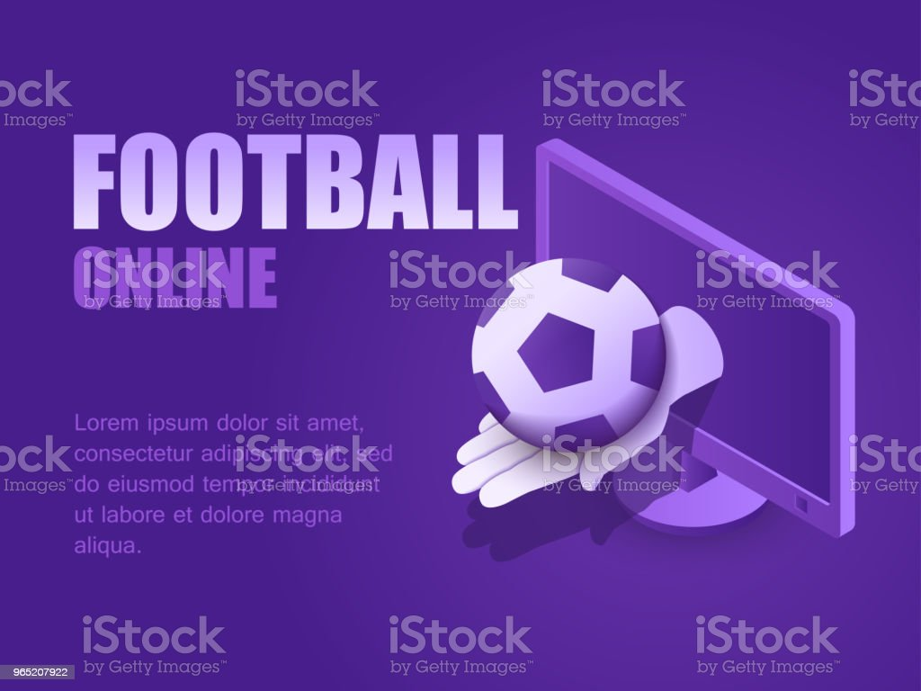 Concept football online. Vector illustration isometric hand with football ball of the monitor computer. Landing page soccer game live concept football online vector illustration isometric hand with football ball of the monitor computer landing page soccer game live - stockowe grafiki wektorowe i więcej obrazów czynność royalty-free