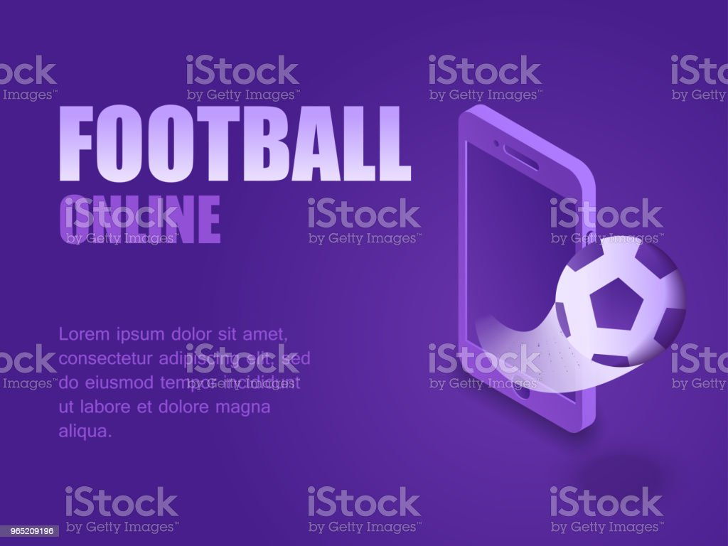Concept football online. Vector illustration isometric kick football ball out og the screen smartphone. Graphic design background football game live royalty-free concept football online vector illustration isometric kick football ball out og the screen smartphone graphic design background football game live stock vector art & more images of activity