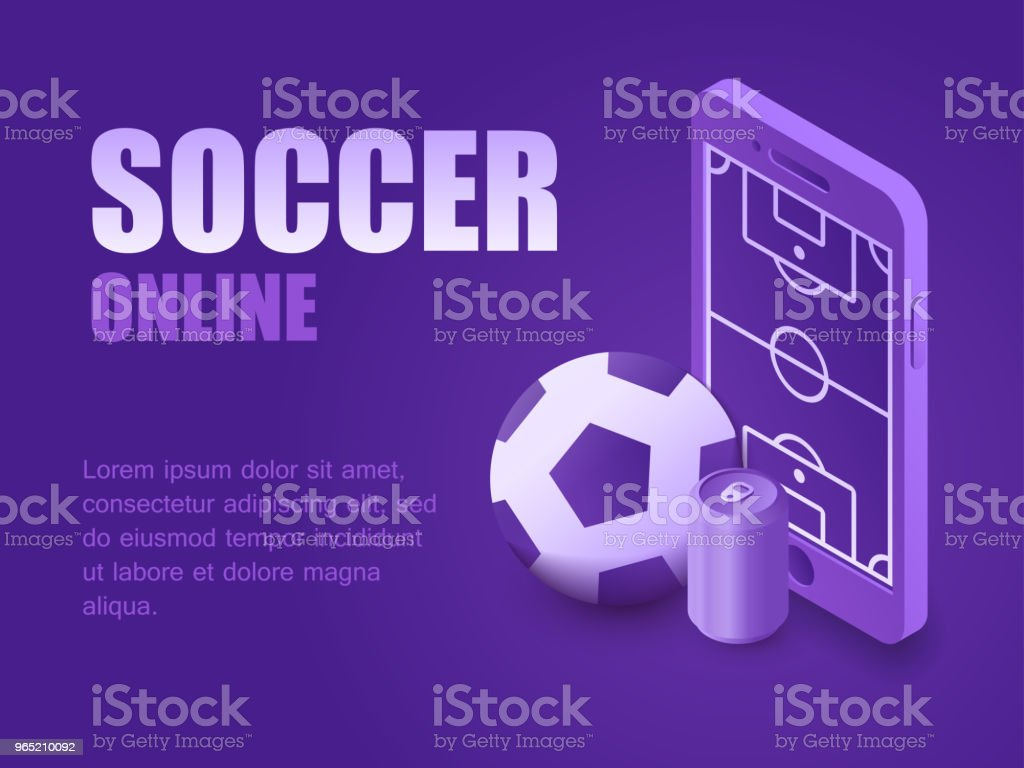 Concept football online. Vector illustration isometric phone with soccer field, ball and beer can. Graphic design background sport game live concept football online vector illustration isometric phone with soccer field ball and beer can graphic design background sport game live - stockowe grafiki wektorowe i więcej obrazów czynność royalty-free