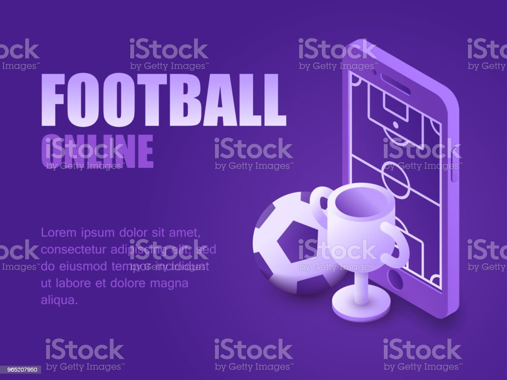 Concept football online. Vector illustration isometric smartphone with soccer field, ball and championship cup. Graphic design background football game live. royalty-free concept football online vector illustration isometric smartphone with soccer field ball and championship cup graphic design background football game live stock illustration - download image now