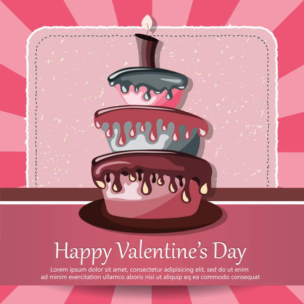 Royalty Free Valentine Birthday Cake Silhouette Clip Art Vector