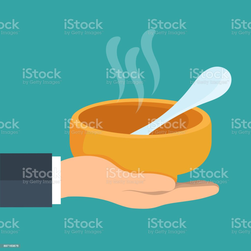 Concept for charity and volunteer organizations feeding people. Food sharing - giving food for the poor and refugees. Flat vector illustration