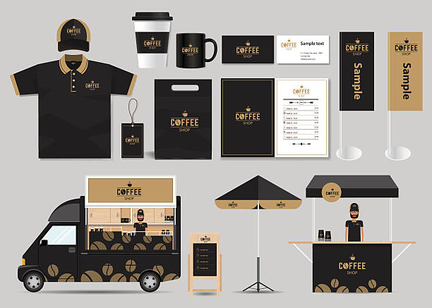 concept for coffee shop and restaurant identity mock up template vector art illustration