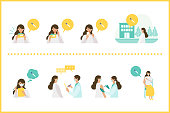Concept for coronavirus vaccination. Doctor makes an injection of flu vaccine to woman. Vector flat illustration.
