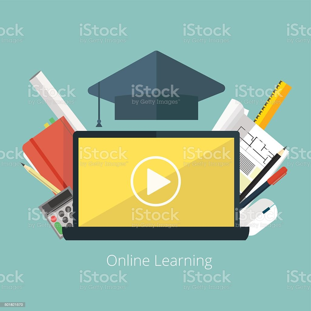 Concept for distance education, online learning for web banners . vector art illustration