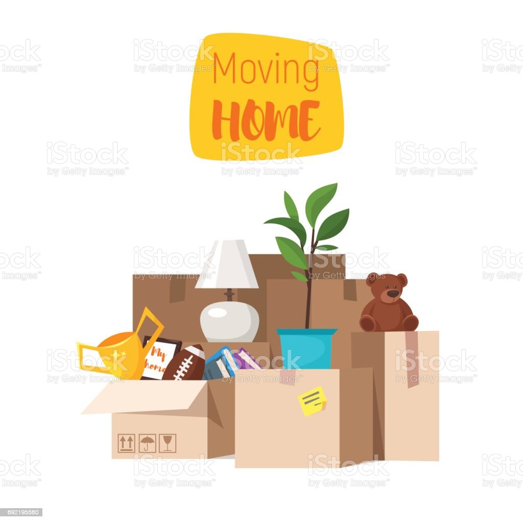 Concept for home moving. Isolated on white background. vector art illustration