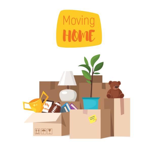 ホームを移動するための概念。白い背景上に分離。 - 新居点のイラスト素材/クリップアート素材/マンガ素材/アイコン素材