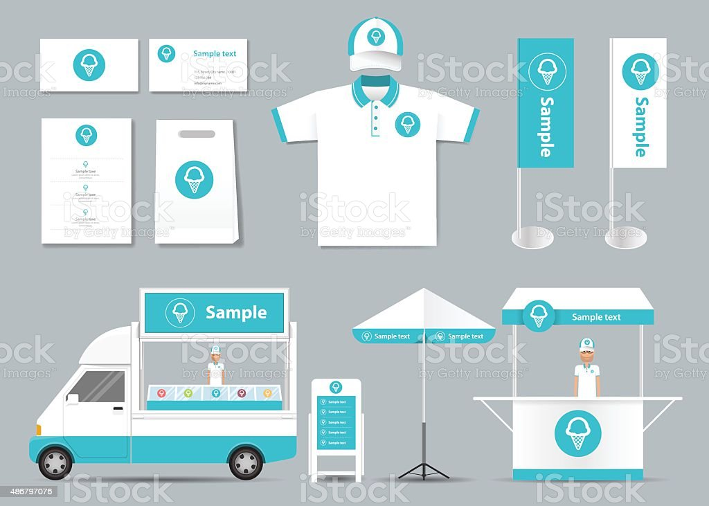 concept for ice cream shop identity mock up template vector art illustration