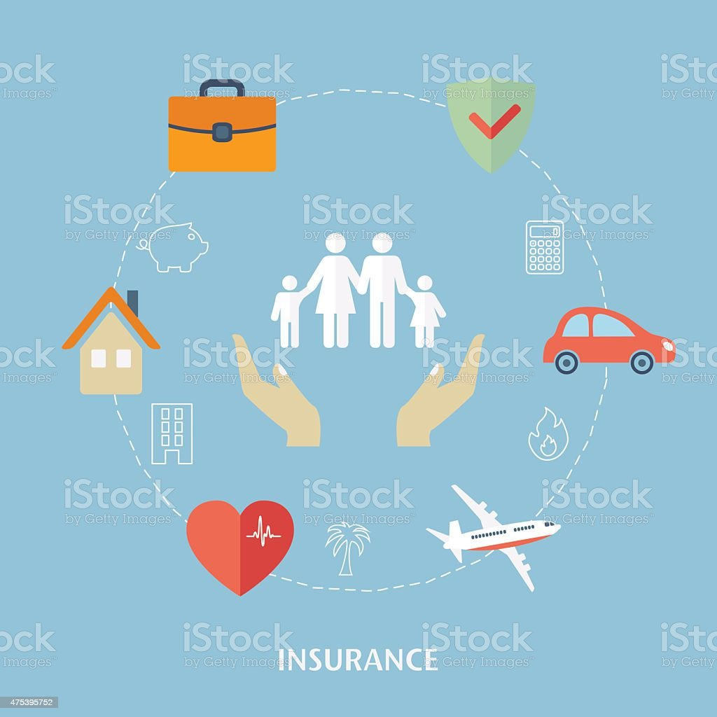 Concept for insurance icons. vector art illustration