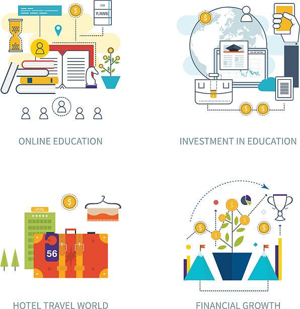 konzept für die investitionen, strategie planung, finanzierung, online-bildung. - forschungsurlaub stock-grafiken, -clipart, -cartoons und -symbole