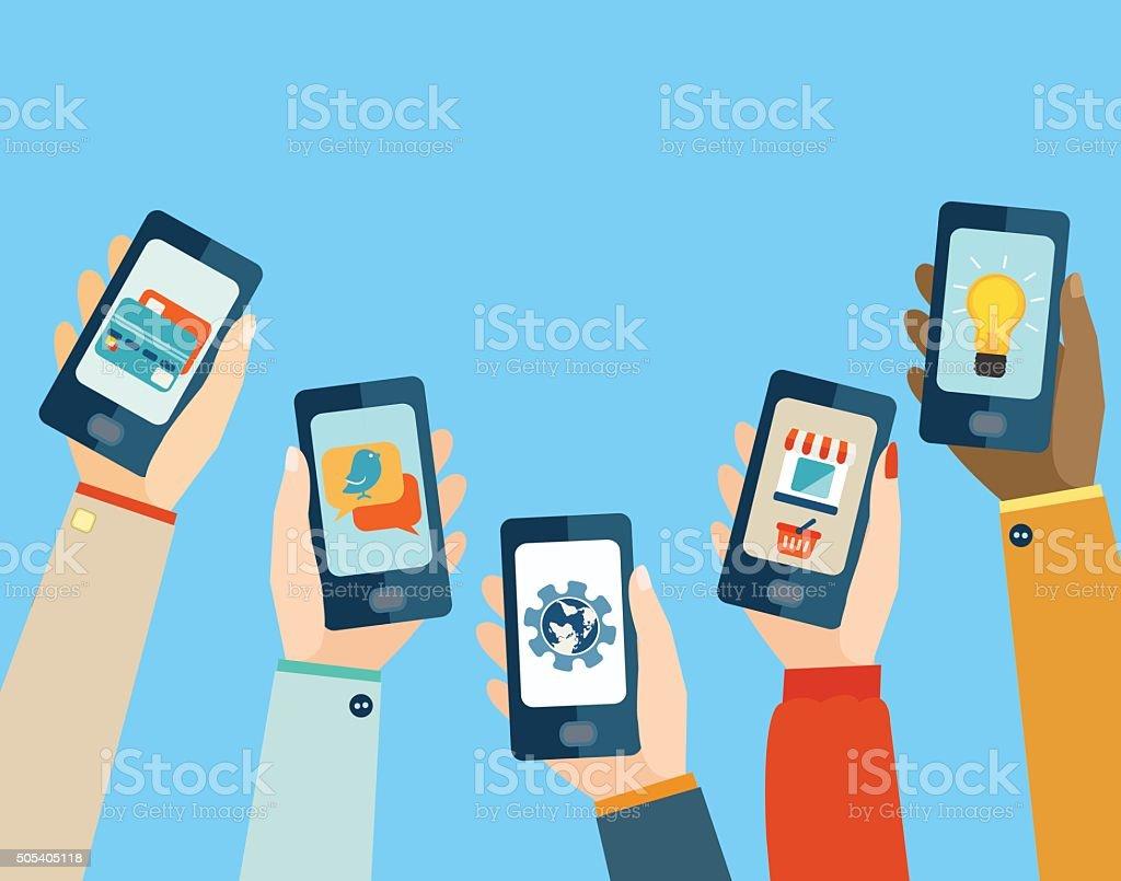 Concept for mobile apps. Flat design. vector art illustration