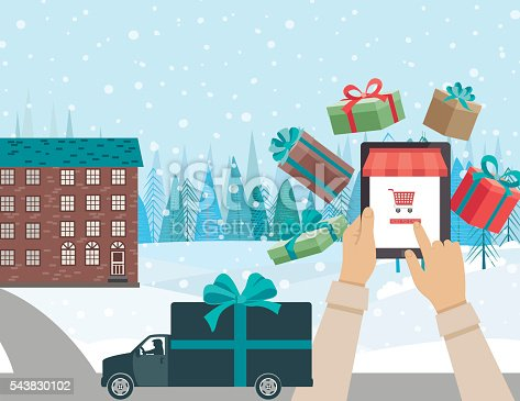 istock Concept for Online Christmas Shopping - Delivery Truck 543830102