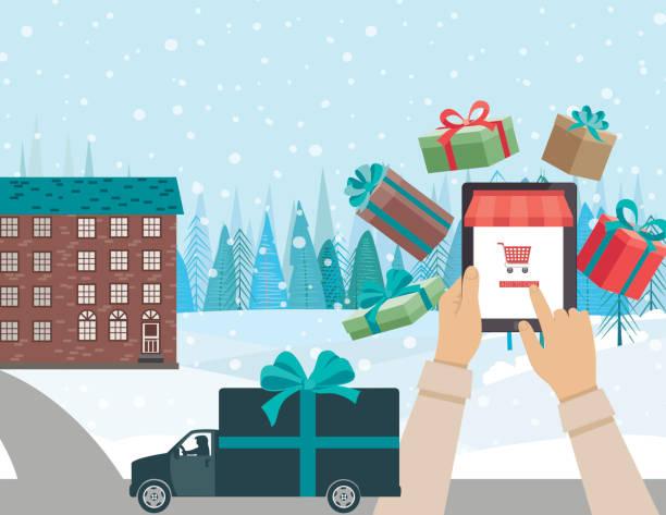 konzept für online-weihnachts-shopping – lkw - weihnachtsmarkt stock-grafiken, -clipart, -cartoons und -symbole
