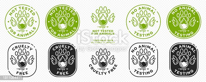 istock Concept for product packaging or menu. Labeling - not tested on animals. Animal footprint icon with test drop and wings - symbol of freedom to test on animals. Vector set. 1311054411