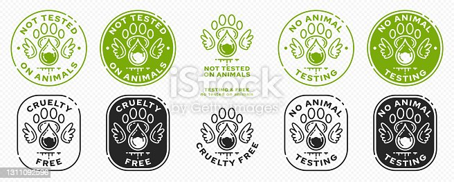 istock Concept for product packaging or menu. Labeling - not tested on animals. Animal footprint icon with test drop and wings - symbol of freedom to test on animals. Vector set. 1311092596