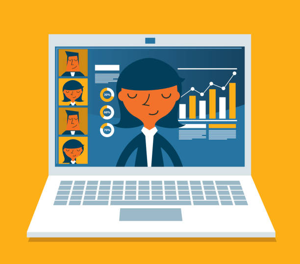 concept for video conference - businesswoman - e-learning not icons stock illustrations