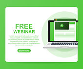 Concept free webinar for web page, banner, presentation, social media, documents. Watch video online. Vector stock illustration.