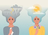 istock Concept good and bad mood. One girl cries with clouds, lightning, rain in her hair and a handkerchief  in her hands, another girl smiles with clouds and sun in her hair and flowers in hand.Vector 1253131322