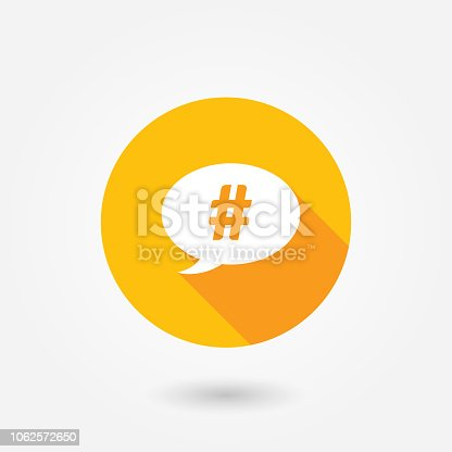 A concept graphic chat bubble with the hash tag