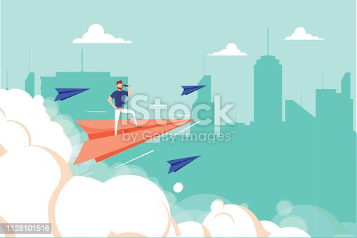 Concept graphic design of businessman on airplane looking in future with spyglass against cityscape. Business unique, successful businessman. Man looking forward, career concept and profit growth