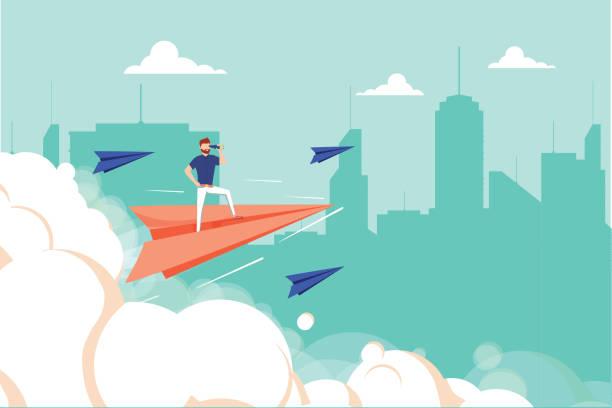 illustrazioni stock, clip art, cartoni animati e icone di tendenza di concept graphic design of businessman on airplane looking in future with spyglass against cityscape. business unique - opportunità