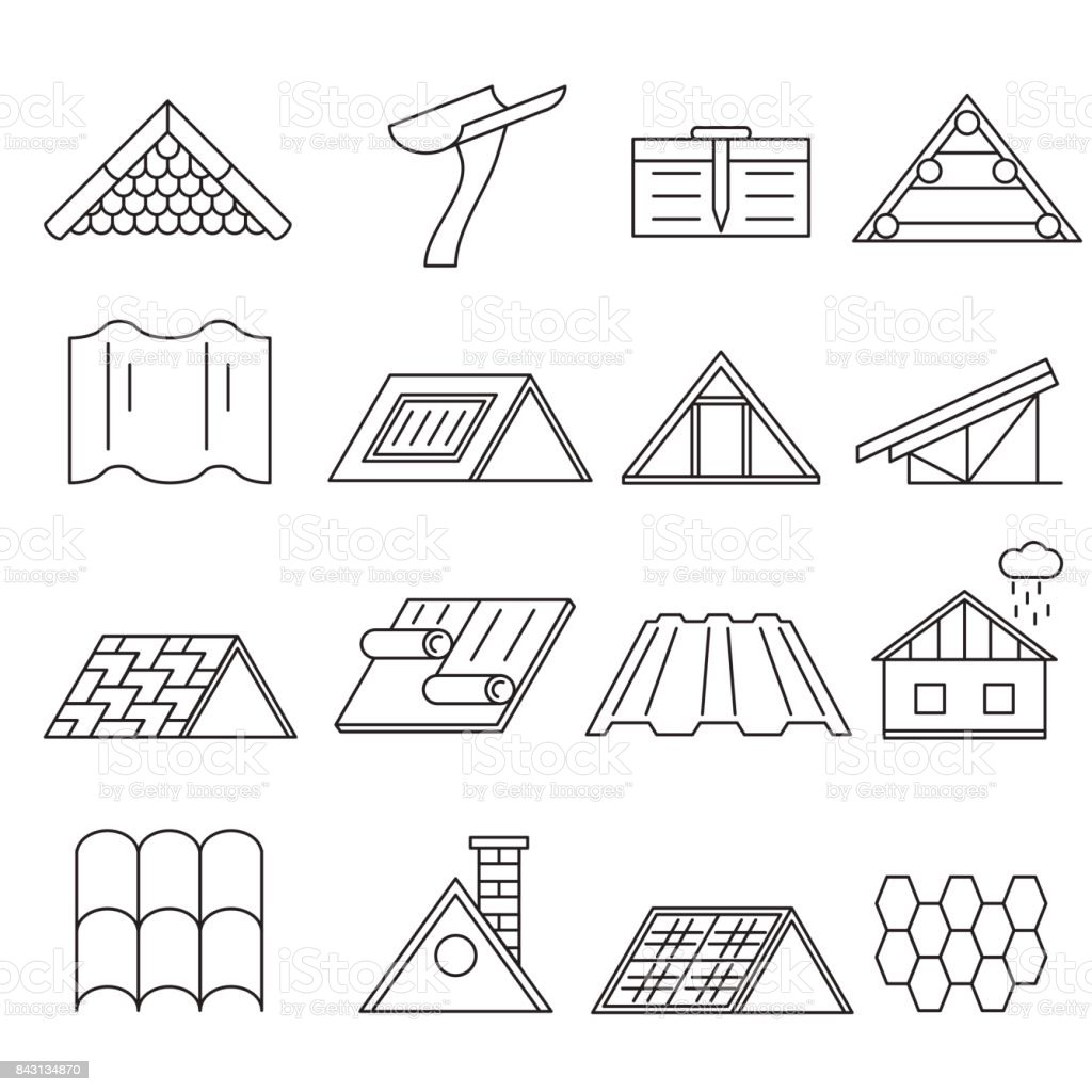 Concept House Roof Construction Thin Line Icon Set. Vector vector art illustration