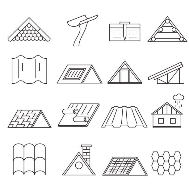 konzept haus dach bau dünne linie icon-set. vektor - holzdeck stock-grafiken, -clipart, -cartoons und -symbole
