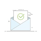 Concept icon open an email with a sheet of paper