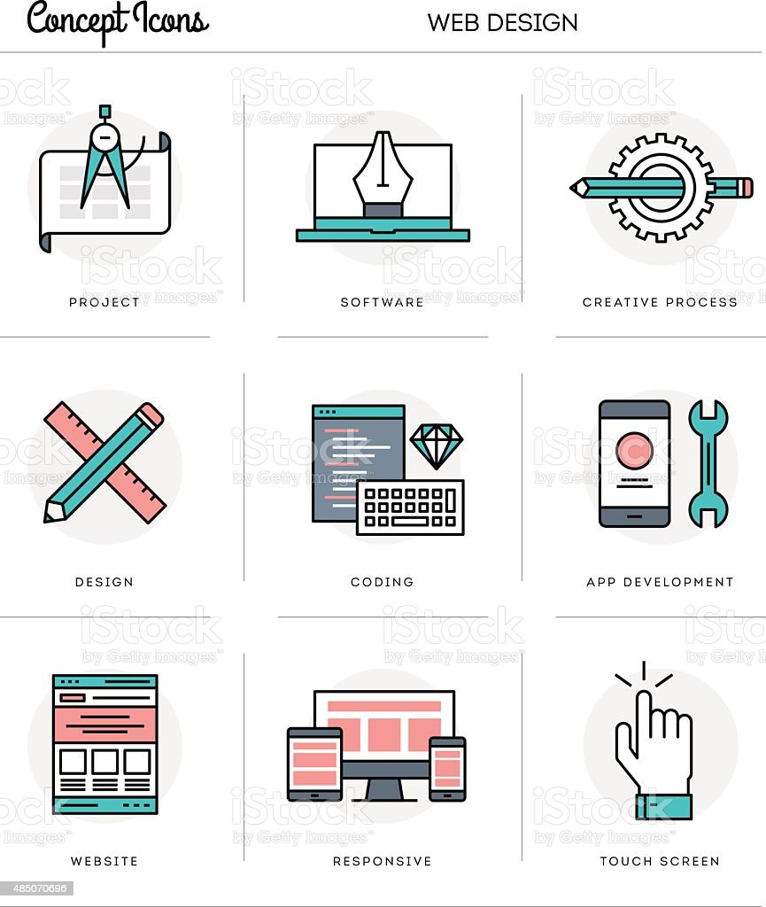 Concept icons, web design, flat thin line illustrations vector art illustration