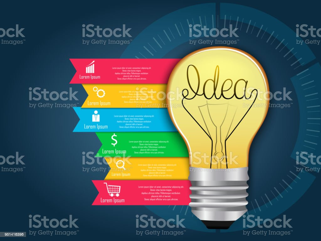 Concept idea light bulb info graphics design stock vector art
