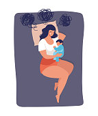 istock Concept illustration about postpartum depression, worry, and anxiety of a young mom. The woman sleeps with a baby on the bed and cries. Vector illustration isolated on white background. 1281457646