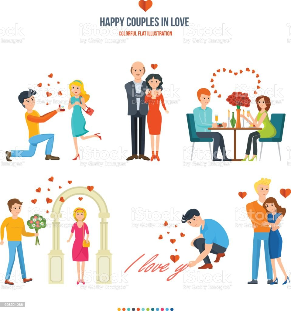 Concept illustration - happy couples in variety of settings and situations vector art illustration