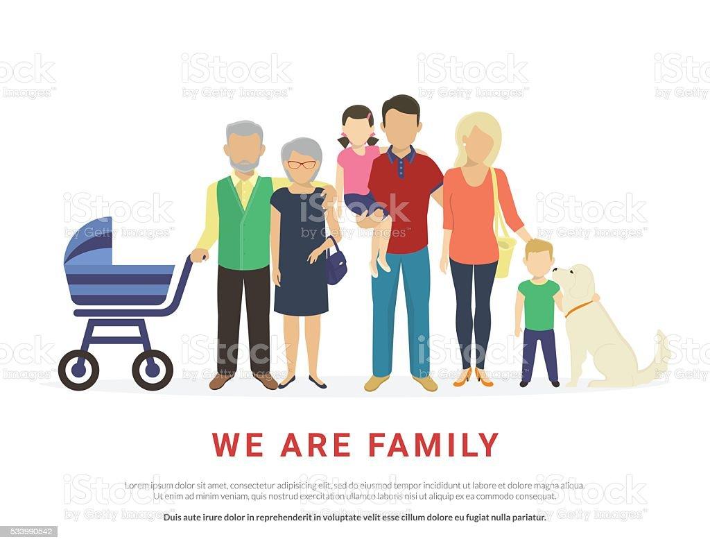 Concept illustration of big family portrait vector art illustration