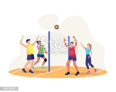 Concept illustration of playing volleyball