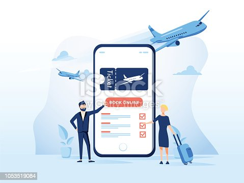 istock Concept illustration template of Book your flight. Modern flat design concept for web page design 1053519084