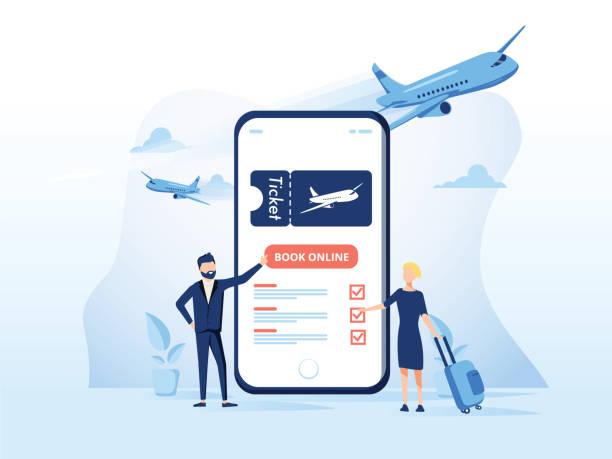 ilustrações, clipart, desenhos animados e ícones de modelo de ilustração do conceito de reserve seu voo. conceito moderno design plano para página web design - ilustrações de destinos de viagens