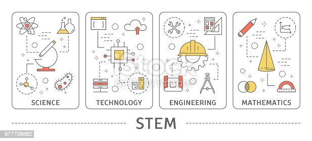 STEM concept illustration. Science and technology, engineering and mathematics.