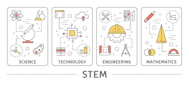 STEM concept illustration. STEM concept illustration. Science and technology, engineering and mathematics. plant stem stock illustrations