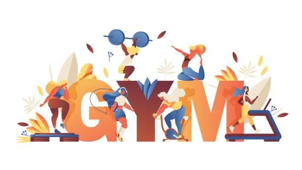 bildbanksillustrationer, clip art samt tecknat material och ikoner med koncept illustration med stort ord gym och tjejer som gör idrotts träning, löv och grönska isolerade på vit bakgrund. kreativ skrift med samtida karaktärer. - jogging hill