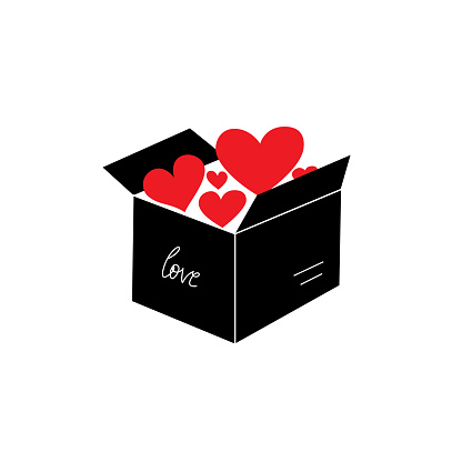 Concept illustration with red hearts in box