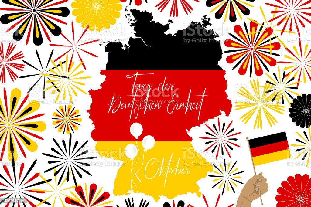 Concept Image Of Germany Map And Abstarct Fireworks And German Unity ...