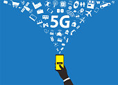 5G concept in the future, hand holding smart phone, using 5g technology, vector illustration